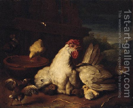A hen with chicks in a farmyard by (after) Peter Casteels III - Reproduction Oil Painting