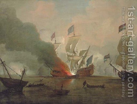 The destruction of the Royal James at the battle of Solebay, 3rd May 1672 by (after) Peter Monamy - Reproduction Oil Painting