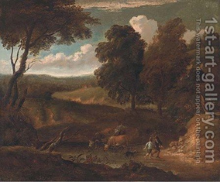 A wooded track with cattle drinking at a river and figures with a dog by (after) Peter Tillemans - Reproduction Oil Painting