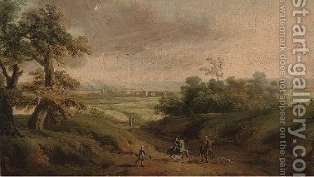 An extensive landscape with horsemen and a beggar in the foreground by (after) Peter Tillemans - Reproduction Oil Painting