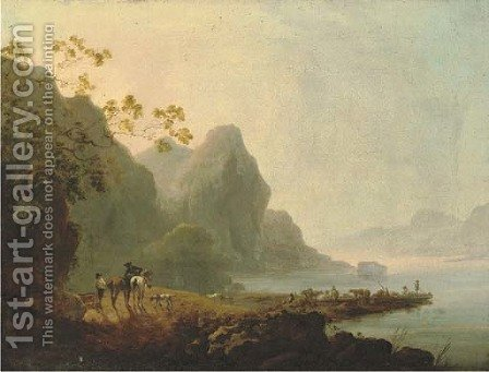 Wooded lakeside landscape with figures and horses in the foreground and figures, livestock and a ferry beyond by (after) Loutherbourg, Philippe de - Reproduction Oil Painting