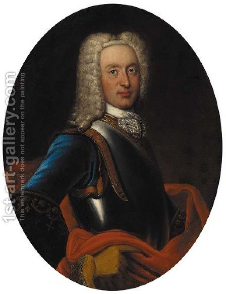 Portrait of a gentleman, half-length, in a blue coat, red wrap and breastplate by (after) Mercier, Philippe - Reproduction Oil Painting