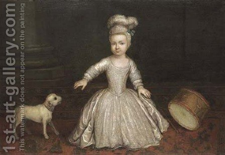 Portrait Of A Young Child, Full-Length, In A White Dress With A Dog And Drum Beside A Column, In An Interior by (after) Mercier, Philippe - Reproduction Oil Painting