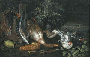 A partridge, a dead duck, a pitcher, two knives, a loaf of bread and hens, on a forest floor