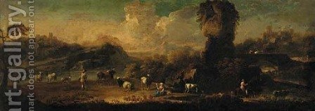 A extensive mountain landscape with a drover and cattle with other figures at a river, towns beyond by (after) Philipp Peter Roos - Reproduction Oil Painting