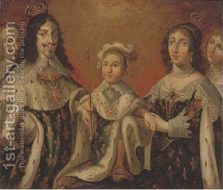 Group portrait of Louis XIII, Anne of Austria, and their son Louis XIV, flanked by Cardinal Richelieu and the Duchesse de Chevreuse by (after) Philippe De Champaigne - Reproduction Oil Painting