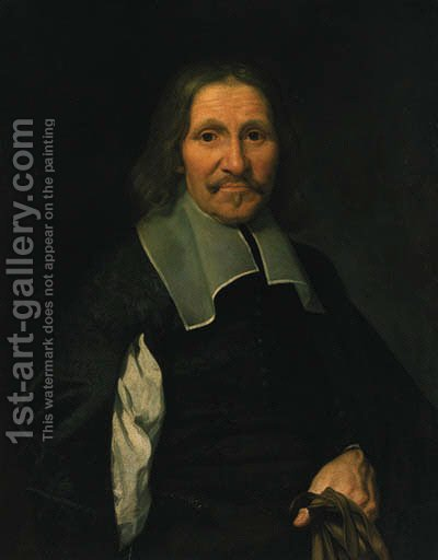 Portrait of a gentleman 3 by (after) Philippe De Champaigne - Reproduction Oil Painting
