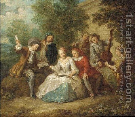 Elegant company playing music in a garden by (after) Mercier, Philippe - Reproduction Oil Painting
