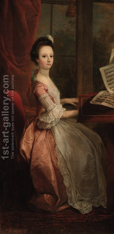 Portrait of a girl, seated at a harpsicord by (after) Mercier, Philippe - Reproduction Oil Painting