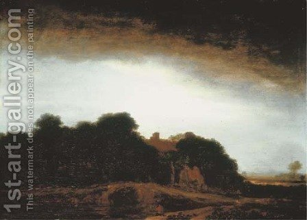 A wooded landscape with a cottage by a path at dusk, an artist sketching in the foreground by (after) Philips Koninck - Reproduction Oil Painting