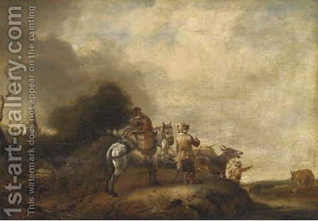 A landscape with travellers halted on a track by (after) Philips Wouwerman - Reproduction Oil Painting