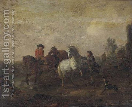 Horsemen in a landscape by (after) Philips Wouwerman - Reproduction Oil Painting