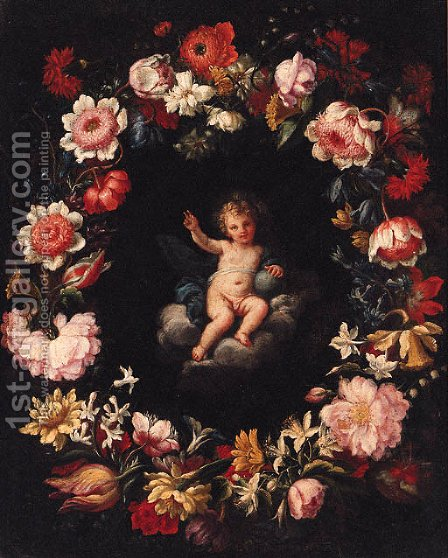 The Infant Christ in a medallion surrounded by a garland of flowers by (after) Pier Francesco Cittadini - Reproduction Oil Painting