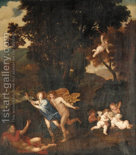 A wooded landscape with Apollo and Daphne by (after) Pier Francesco Mola - Reproduction Oil Painting