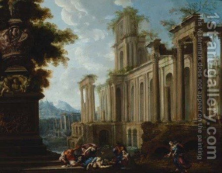 A capriccio of Roman ruins, with the death of Adonis () by (after) Pierre-Antoine Patel - Reproduction Oil Painting