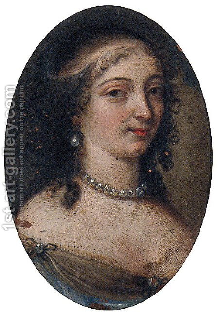 Portrait of a Lady, bust-length, in a pearl choker and a decollete dress by (after) Mignard, Pierre II - Reproduction Oil Painting