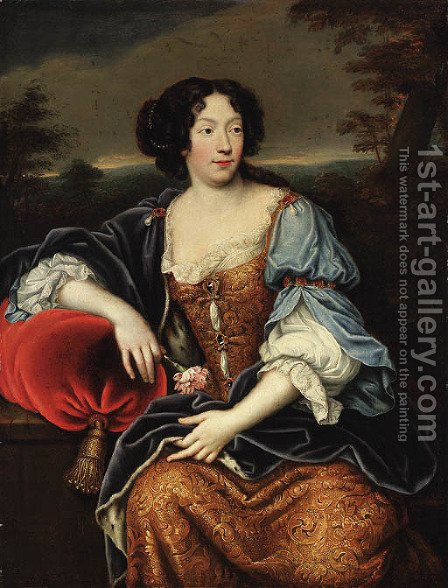 Portrait of a lady, seated, three-quarter-length, in a blue and gold brocade dress and an ermine lined wrap, a wooded landscape beyond by (after) Mignard, Pierre II - Reproduction Oil Painting