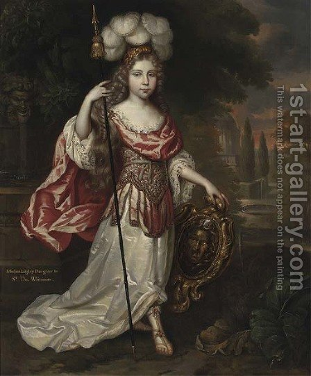 Portrait of Madame Lagley, daughter to Sir Thomas Whitemore, full-length, in a white and pink Roman dress by (after) Mignard, Pierre II - Reproduction Oil Painting