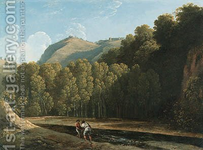 An Italianate wooded landscape with two fishermen by a stream by (after) Pierre-Henri De Valenciennes - Reproduction Oil Painting