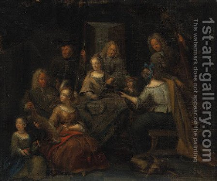 Elegant Company making Music in an Interior with a Sportsman showing a Lady Trophies of the Hunt by (after) Pieter Angillis - Reproduction Oil Painting