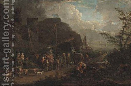 A harbour scene with stevedores on the shore by (after) Pieter Bout - Reproduction Oil Painting