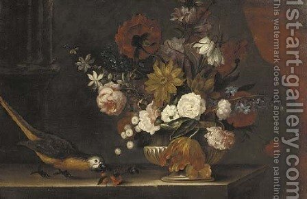 Roses, tulips, lilies and other flowers in a stone urn with a parrot on a ledge by (after) Pieter Casteels III - Reproduction Oil Painting