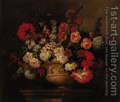 Roses, lilies, narcissi, marigolds and other flowers in a sculptured urn on a plinth by (after) Pieter Casteels - Reproduction Oil Painting