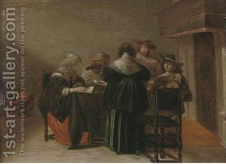 Elegant company making music in an interior by (after) Pieter Codde - Reproduction Oil Painting