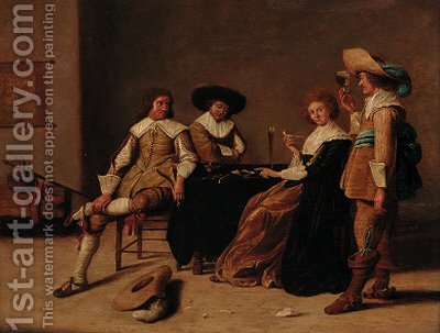 Elegant company smoking and drinking in an interior by (after) Pieter Codde - Reproduction Oil Painting