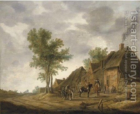 Travellers halting by a village inn by (after) Pieter De Neyn - Reproduction Oil Painting