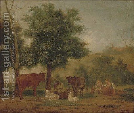 A young couple resting under a tree with animal companions by (after) Pieter Gerardus Van Os - Reproduction Oil Painting