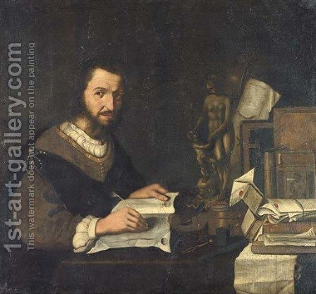 Portrait of a connoisseur by (after) Pieter Gerritsz. Van Roestraeten - Reproduction Oil Painting