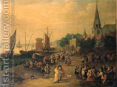 A fishmonger on a quay outside a city gate by (after) Pieter Gysels - Reproduction Oil Painting