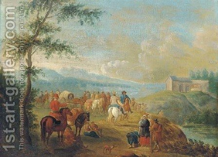 A landscape with travellers at halt by a river by (after) Pieter Gysels - Reproduction Oil Painting