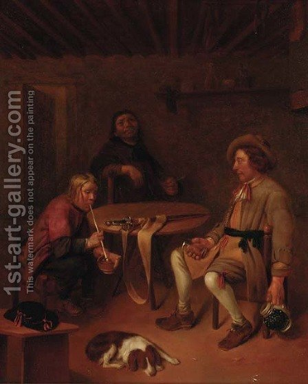 A soldier and companions smoking and drinking in an interior by (after) Pieter Harmansz Verelst - Reproduction Oil Painting