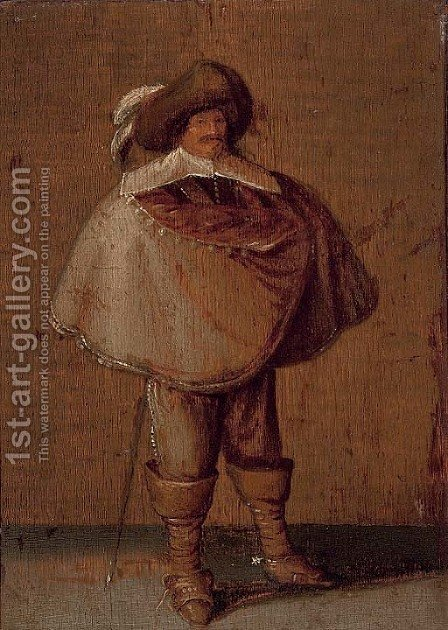 A cavalier by (after) Pieter Jansz. Quast - Reproduction Oil Painting
