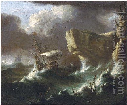A storm at sea by (after) Pieter The Younger Mulier (Tampesta, Pietro) - Reproduction Oil Painting