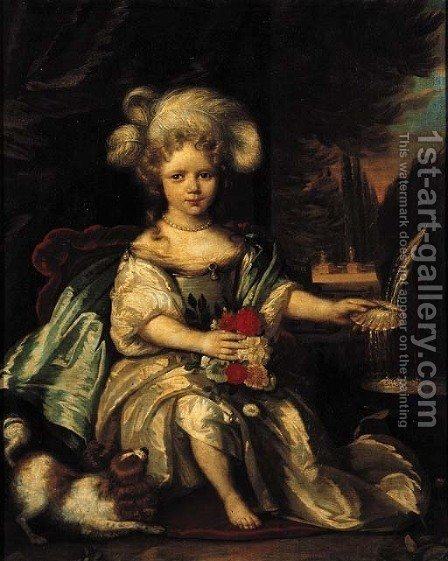 Portrait of Anna Catharina van Heemskerck (1676-1723) when young, seated full length by a fountain on a draped terrace by (after) Pieter Nason - Reproduction Oil Painting