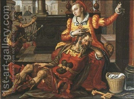 Samson and Delilah by (after) Pieter Pietersz - Reproduction Oil Painting