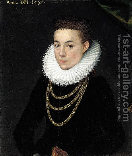 Portrait of a girl by (after) Pieter Pourbus - Reproduction Oil Painting