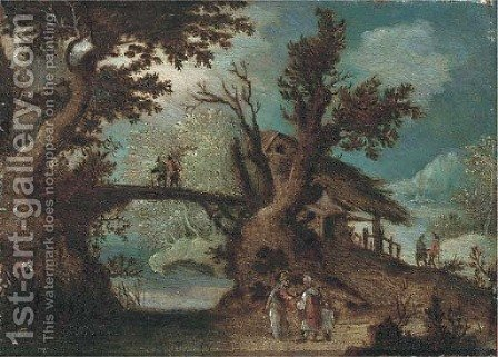 A wooded river landscape with peasants on a path by (after) Pieter Stevens - Reproduction Oil Painting