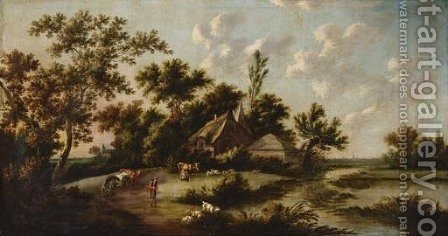 An extensive landscape with a herder, milkmaid and cattle before a farmstead by (after) Peter Tillemans - Reproduction Oil Painting