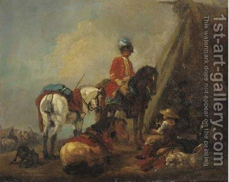 A cavalryman and a wine seller in a military encampment by (after) Pieter Van Bloemen - Reproduction Oil Painting