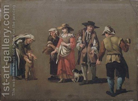 A group of peasants by (after) Pieter Van Bloemen - Reproduction Oil Painting