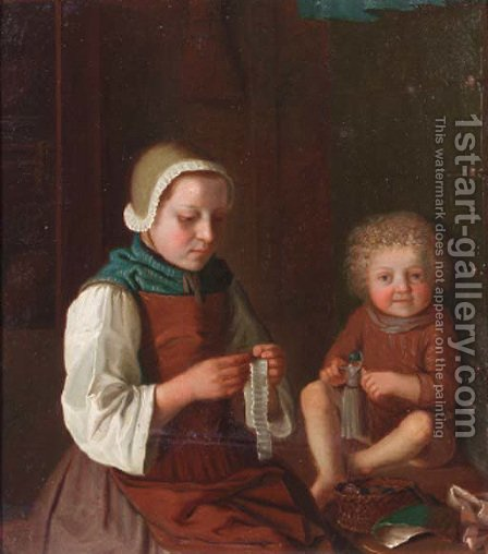 A woman sewing by a table, a child playing with a doll nearby by (after) Pietro Antonio Rotari - Reproduction Oil Painting