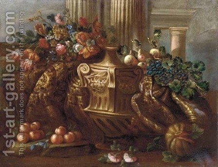 Mmixed flowers, grapes, pears, peaches, a melon and a carpet by (after) Pietro Navarra - Reproduction Oil Painting