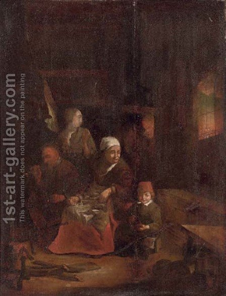 A family in a kitchen interior by (after) Quirin Gerritsz. Van Brekelenkam - Reproduction Oil Painting