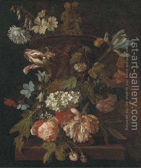 Roses, a parrot tulip, morning glory, narcissi and other flowers, with a snail, around a stone urn on a ledge by (after) Rachel Ruysch - Reproduction Oil Painting