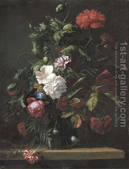 Roses, carnations, morning glory and other flowers in a glass vase on a stone ledge by (after) Rachel Ruysch - Reproduction Oil Painting