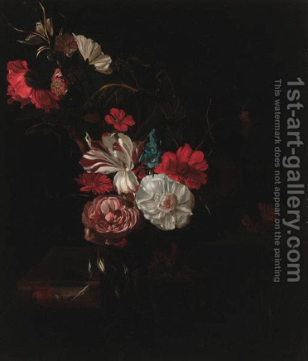 Roses, tulips, a poppy, nasturtiums, marigolds and other flowers in a vase, and a tortoiseshell butterfly on a partly draped marble ledge by (after) Rachel Ruysch - Reproduction Oil Painting